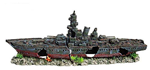 HERITAGE AQUARIUM FISH TANK WARSHIP BATTLESHIP BOAT SHIP WRECK HANDPAINTED ORNAMENT (WS008BL Large 73cm)