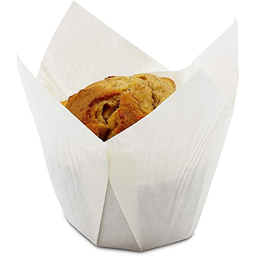 Juvale Tulip Muffin Wrappers (100 Pack) Cupcake Paper Liners, White