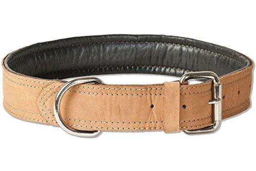 Woodland® Hundehalsband aus Büffelleder für große Hunde mit 50-65 cm Halsumfang in Natur
