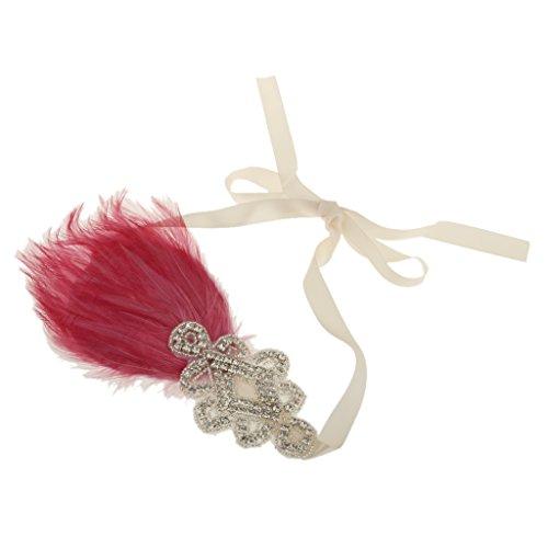 dailymall Kristalle & Rosa Feder Haarband Stirnband Für 20er Frisuren Zur Mottoparty