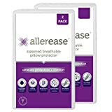 AllerEase Ultimate Protection & Comfort Temperature Balancing Pillow Protector – Zippered, Antimicrobial, Allergist Recommended Prevent Collection of Dust Mites and Allergens, King-2 Pack, White