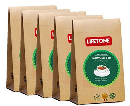 lifetone the tea for better life, Té de raíz de zarzaparrilla | Té de verano refrescante para una piel radiante | 100 bolsitas de té 200g | Té de desintoxicación | Paquete de 5