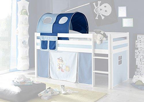 Jugendmöbel24.de Tunnel + Betttasche Pirat 100% Baumwolle Kinderzimmer Stofftasche Baldachin Bettdach Himmel für Hochbett Spielbett Etagenbett Kinderbett