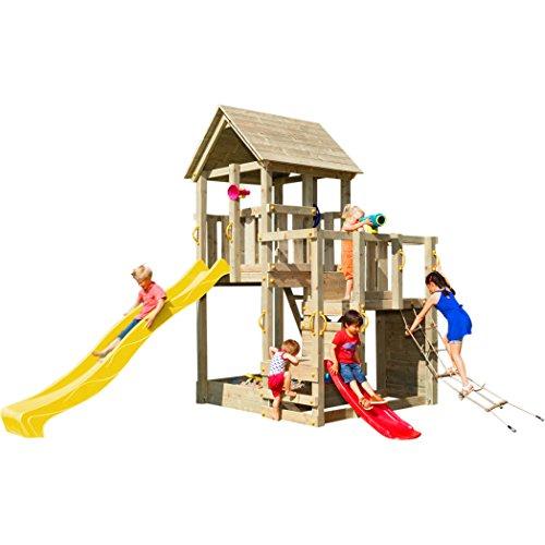Blue Rabbit Spielturm Penthouse mit Rutsche 2,90 m + Babyrutsche + Kletternetz Farbe Gelb
