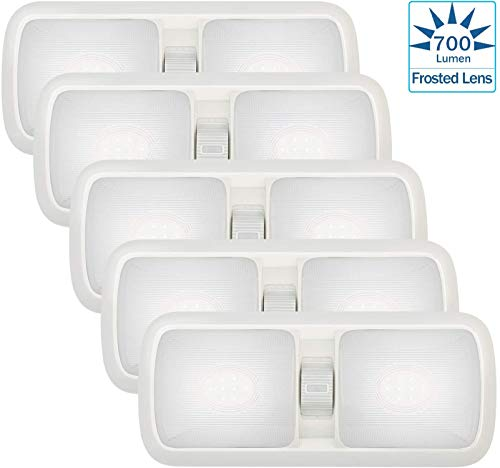 Kohree [2020 New 12V LED RV Ceiling Dome Light Fixture, RV Interior Lighting for Trailer Camper with Switch Natural White ([ Frosted Lens ] Natural White 5-Pack)