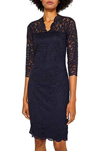 ESPRIT Collection Damen 129EO1E023 Kleid, Blau (Navy 400), X-Large (Herstellergröße: XL)
