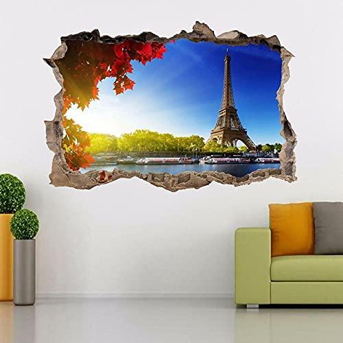 Torre eiffel de parís3D Etiqueta de la pared Etiqueta de vinilo extraíble decoración de Sala de Arte de Vinilo para Sala de Estar Dormitorio Cocina-50x70cm