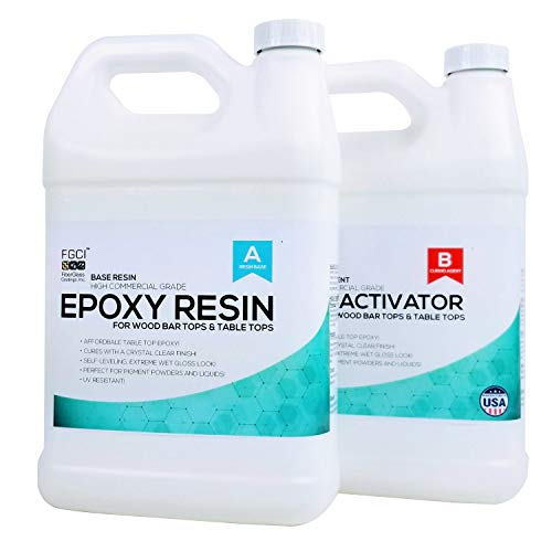 Commercial Grade Epoxy Resin For Wood Tables, Wood Sealer, Epoxy Floor Coating - 2 Gallon Kit