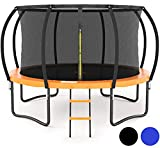 JUMPZYLLA 10FT 12FT Trampoline with Enclosure - Recreational Trampolines with Ladder and Galvanized Anti-Rust Coating, ASTM Approval- Outdoor Trampoline for Kids