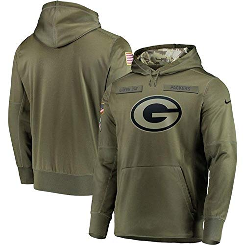 CSHASHA Männer Kapuzenpullover Pullover - NFL Green Bay Packers-Rugby-Fan Sportswear Langarm-Kapuzenjacke Baseball Uniform -Teen Geschenk Army Green-XL