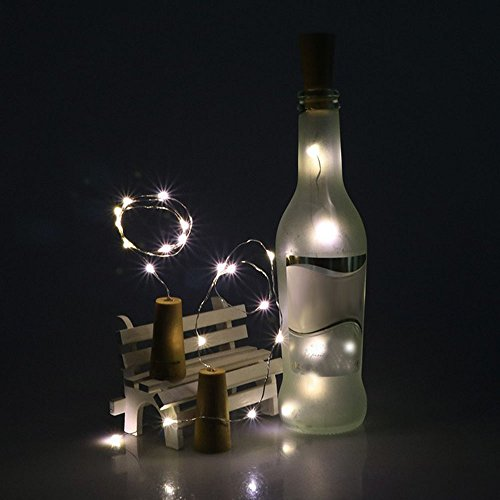 Ularma - Tapón de botella solar con cadena de 10 luces LED,