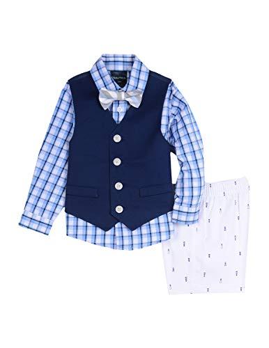 Nautica Baby Boys 4-Piece Formal Dresswear Vest Set with Bow Tie, Lighthouse Blue, 24 Months