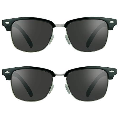 proSPORT Classic Reading Sunglasses +3.50 2 Pairs Black Round Horn Rimmed Plastic Frame for Men & Women - NOT BIFOCAL