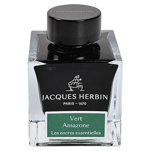 Jacques Herbin 13137JT - Botella de tinta para pluma y bolígrafo roller, 50 ml, color verde amazono
