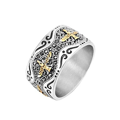 Stainless Steel Gold Eagle Masonic Ring Jewelry For Men Crystal Zircon Stone Pave Eagle Rings Jewellery Gift For Men Size 9