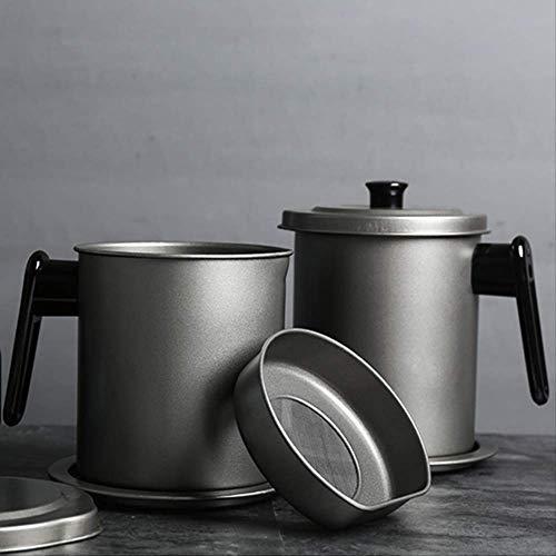 2 tarros de almacenamiento de líquidos de cocina de estilo japonés a prueba de fugas de acero inoxidable con filtro de almacenamiento de aceite