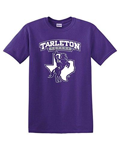 Purple Tarleton Texans Full Logo Adult T-Shirt (Small)