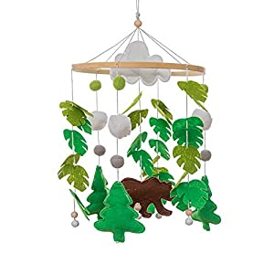 MMH Handmade Wood Mobile Bed Bell with Non-Woven Leaves & Dinosaur Doll Mobile Baby Crib Bassinet Creative Hanging Toys Nursery Room Decoration Perfect Shower Gift for Newborn