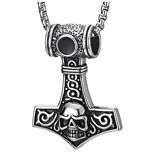 COOLSTEELANDBEYOND Herren Hammer Edelstahl Silber Schwarz Thors Irische Keltische Knoten Halskette Anhänger mit Schädel, 75CM Weizen-Kette