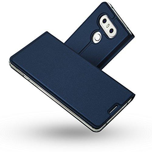 Radoo Coque LG G6,Ultra Mince en Cuir PU Premium Housse à Rabat Portefeuille Coque Étui de Protection Bumper Folio à Clapet avec [Fente pour Carte] [Fermoir Magnétique] pour LG G6 (Bleu)