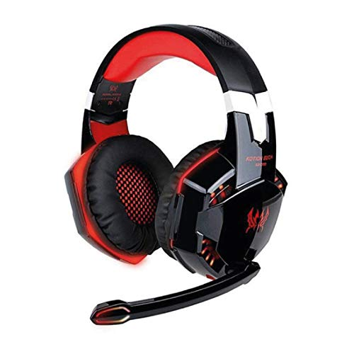 ineix kotionG2000 3.5 mm Gaming Headset with Microphone Voice Control LED Light noice Cancellation for PC Laptop PS4 (Black and red)
