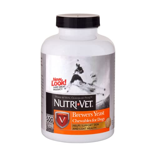 Nutri-Vet Brewers Yeast with Garlic Chewables|Supports Healthy Coat & Skin|500 Count
