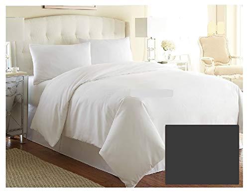 Funda de edredón de lujo para cama de matrimonio, color liso, calidad de hotel, más de 20 colores, gris carbón