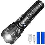 XHP70 Flashlight LED Super Bright 1000 Lumens USB Carga IPX65 Impermeable 5 Modos De Iluminación Se Puede Ampliar Para Acampar Al Aire Libre, Incluida La Batería De 18650 (Negro) ZDXY