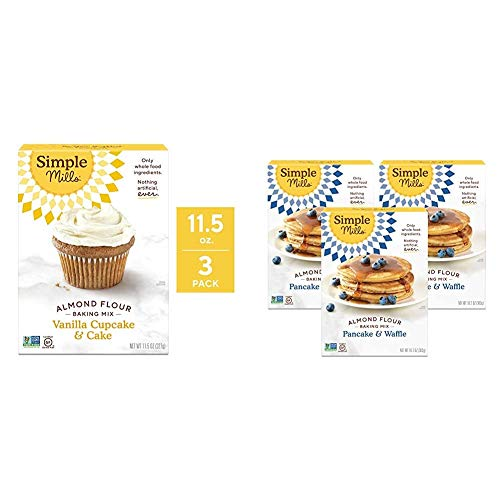 Simple Mills Almond Flour Baking Mix, Gluten Free Vanilla Cake Mix, Muffin pan ready, Made with whole foods 3 Count & Almond Flour Pancake Mix & Waffle Mix, Gluten Free, Made with whole foods, 3 Count