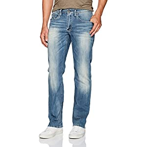 Men's  Straight Leg Jean in Worn and Torn Wash