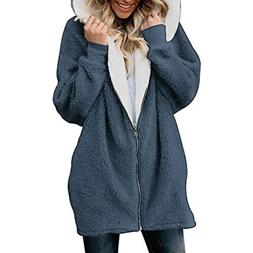 x8jdieu3 Mantel Mantel einfarbig Reißverschluss Collage Stitching Kapuze...