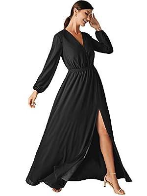ALICEPUB Black Bridesmaid Dresses for Women Chiffon Long Sleeve Formal Maxi Dress V-Neck, US14