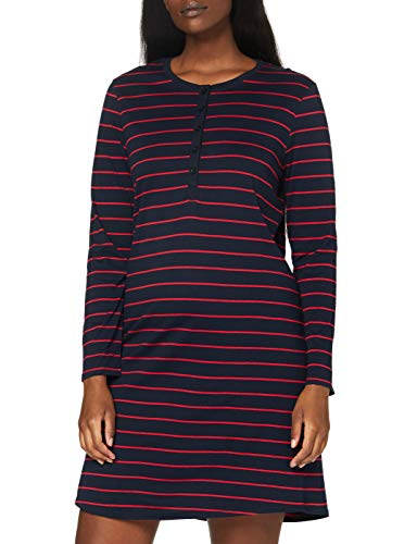 Schiesser Damen 1/1, 95cm Nachthemd, Blau Rot Gestreift, 48 EU