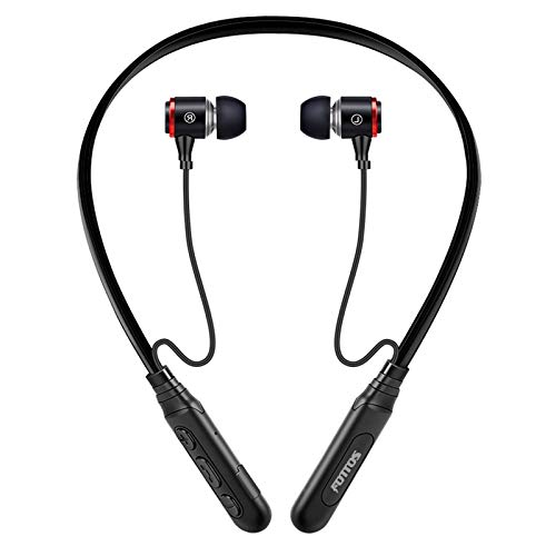 Fottos Extra Bass Stereo Bluetooth 5.0 Neckband Headphones Sports Earbuds in Ear Earphone Noise Cancelling Mic 10H Hands-Free Calls Rechargeable IPX5 Waterproof Headphones for Cellphone TV Laptop