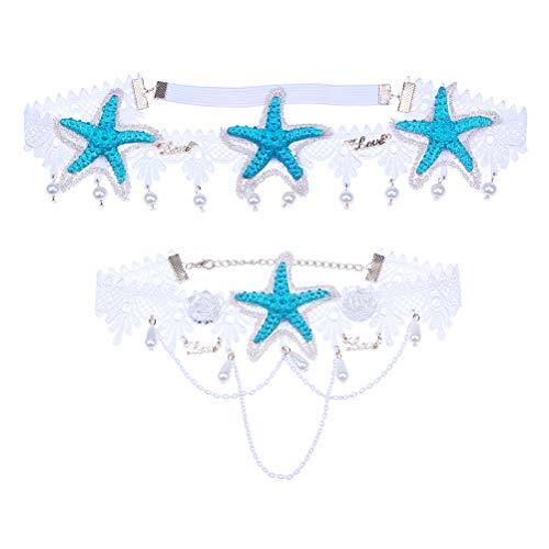 Mermaid starfish headband Bohemian wedding corolla summer beach style elastic lace pearl flower shell necklace accessories (starfish Pearl crystal headpiece+ white lace choker)