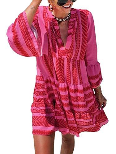 ORANDESIGNE Damen Kleider Strand Elegant Casual A-Linie Kleid 3/4-Arm Sommerkleider Boho V-Ausschnitt Tunika Mini Kleider A Rose M