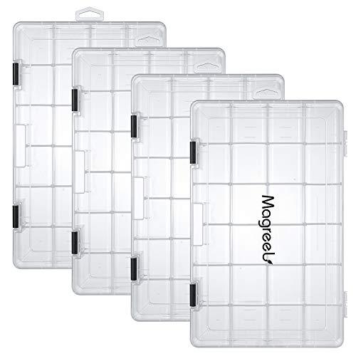 Magreel Angelkoffer, 3/4 Stück transparente Angelbox für Angelzubehör 18/24 Gitter Köderbox