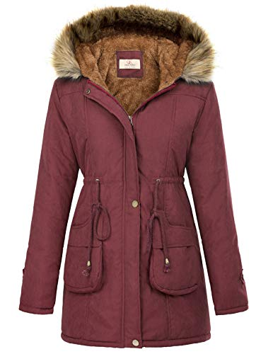 Womens Winter Thicken Hooded Wine Red Parka Jacket
