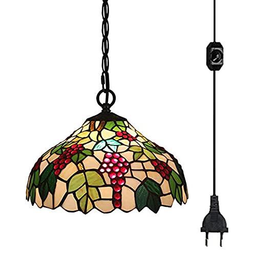 FSLIVING Tiffany Style - Lámpara de techo colgante de cristal de fruta, pantalla de lámpara con 4,5 m de cable con regulador de intensidad certificado CE para restaurante