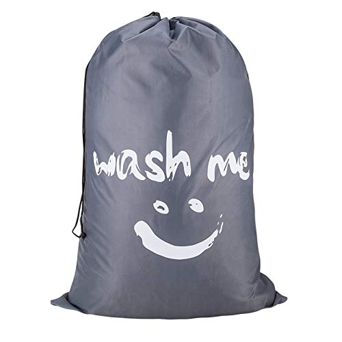 Amazon Brand – Eono Bolsas Cestos para la Colada, Gran Servicio de lavandería, Plegable Bolsa de Lavado de Ropa Bin (Gris)
