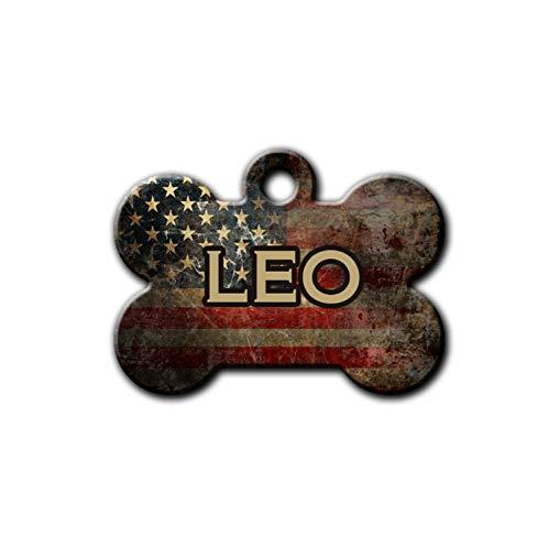 Grunge American Flag Pet Tag, Personalized Pet ID,Bone Shape Metal Flag Tag