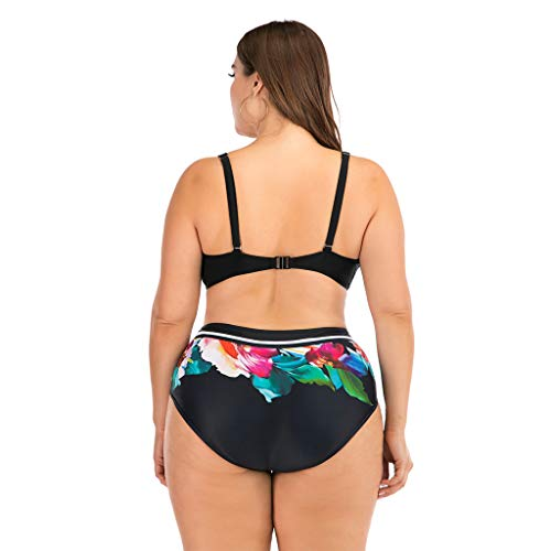 KPILP Plus Size Swimwear for Womens Two Piece High Waisted Bikini Swimsuit Vintage Boho Ethnic Style Fashion Bathing Suit Ladies Oversized Beachwear Swimming Costume Trunks and Bra Set(Multicolor,XL)