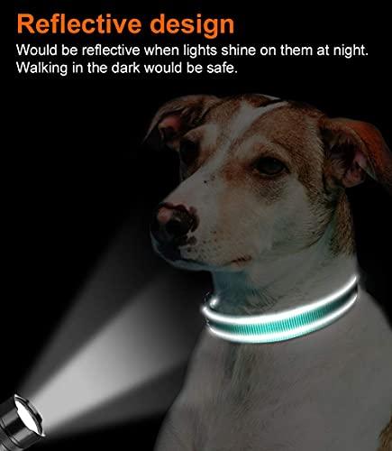 Joytale Reflective Dog Collar,Soft Neoprene Padded Breathable Nylon Pet Collar Adjustable for Large Dogs,Teal,L