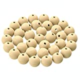 Dastrendz 100pcs 20mm Natural Unfinished Wooden Beads, Round Spacer Wood Beads for DIY, Crafts, Home Decoration, Making Garland, Macrame, and Jewelry.