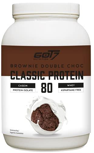 GOT7 CLASSIC PROTEIN 80 - Batido de proteína de suero de leche Proteína de suero para la construcción de músculo Entrenamiento con pesas Culturismo - 500 g (Brownie doble chocolate)