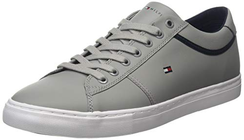 Tommy Hilfiger Herren Essential Leather Sneaker, Grau (Antique Silver PRT), 43 EU