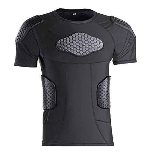 TZTZD Jugend gepolsterte Kompression Hemd Brust rippe schulterschutz für Outdoor Fußball Basketball Paintball Rugby,A,M