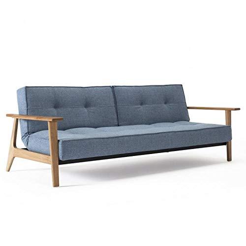 INNOVATION LIVING Canapé SPLITBACK FREJ Convertible lit 115 * 200 cm piétement Chene Tissu Mixed Dance Blue