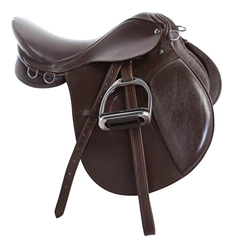 Acerugs Premium Brown Leather English All Purpose Close Contact Jumping Horse Saddle TACK Starter Package Set 15 16 17 18 (17)