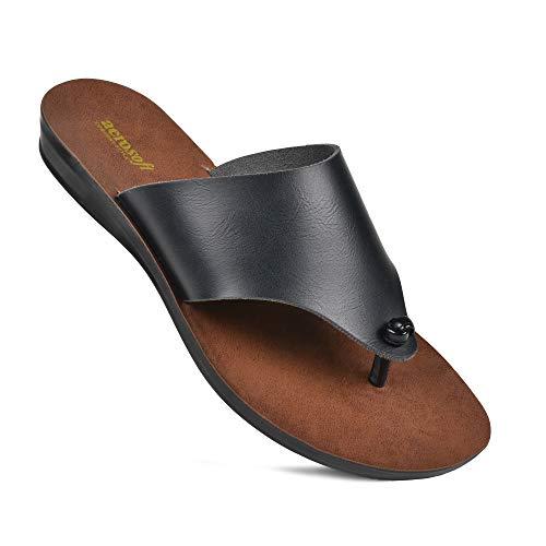 Aerosoft Comfortable Walking Summer Vacation Essentials Flat Sandals for Women (US 07, Black)